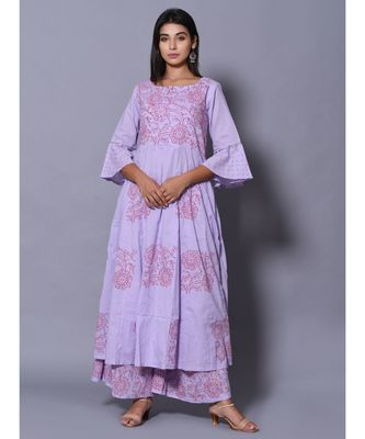 Purple block print cotton kurta sets