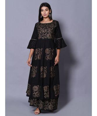 Black block print cotton kurta sets