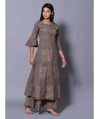 Grey block print cotton kurta sets