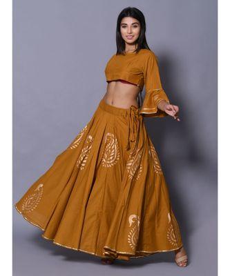 yellow printed cotton readymade lehenga cholis