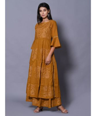 yellow block print cotton kurta sets