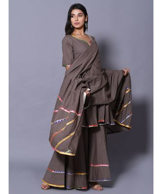 Grey block print cotton kurta sets
