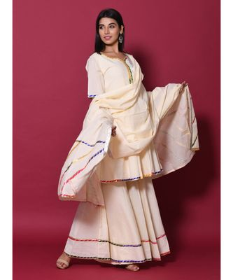 Beige block print cotton kurta sets