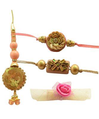 Elegance Personified Golden Peach Bhaiya Bhabhi Rakhi Set - 6items