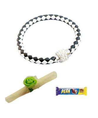 Magnetic Braided & Stone Studded Black & White Bracelet cum Rakhi For Brother