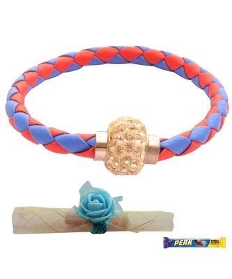 Magnetic Braided & Stone Studded Red & Blue Bracelet cum Rakhi For Brother