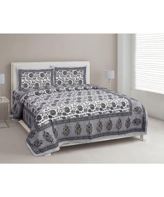 MULTICOLOR PRINTED COTTON KING SIZE DOUBLE BED SHEET WITH PILLOW COVERS