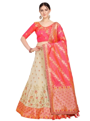 Beige embroidered art silk semi stitched lehenga