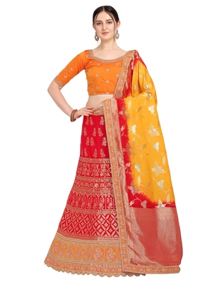 Red embroidered jacquard semi stitched lehenga