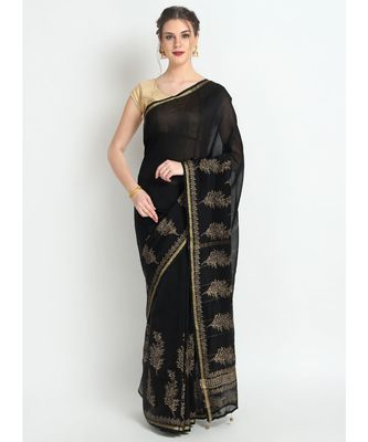 Black Hand Block Printed Silk Chanderi Saree With Traditional Design & Golden Tessels On Pallu
