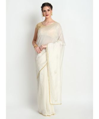 White Pure Georgette Saree With Hand Embroidery