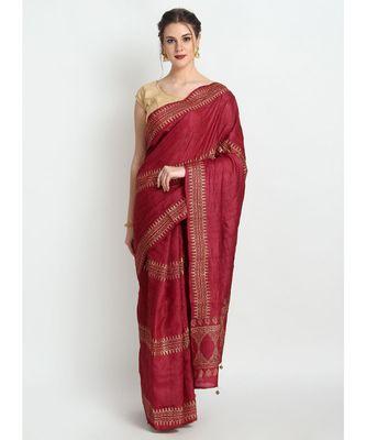 Maroon Hand Block Printed Tussar Silk Saree  With Contemporary Design & Golden Tessels On Pallu