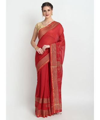 Red Hand Block Printed Silk Chanderi Saree With Traditional Design & Golden Tessels On Pallu