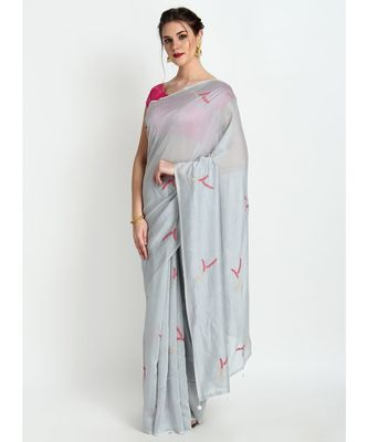 Grey Silk Chanderi Saree With Hand Embroidery