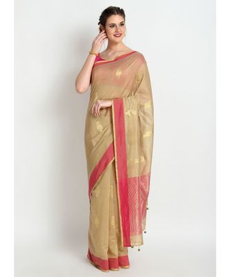 Beige Silk Chanderi Handloom Saree
