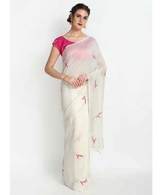 Off White Silk Chanderi Saree With Hand Embroidery