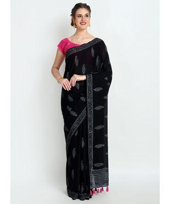 Black Hand Block Printed Cotton Malmal Saree With Traditional Design & Pink Tessels on Pallu