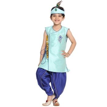 Blue plain silk blend boys-dhoti-kurta