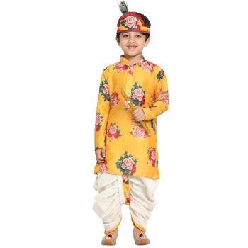 Yellow printed blended cotton boys-dhoti-kurta