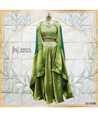 green embroidered silk readymade-lehenga-cholis