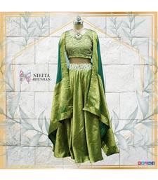 green embroidered silk readymade-lehenga-cholis