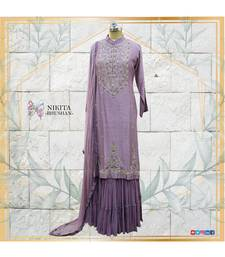 A combination of chinon silk kurta with crepe chiffon dupatta and pure, designer georgette sharara