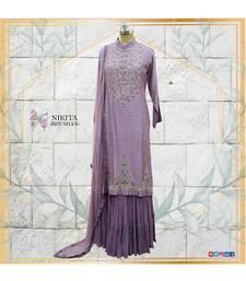 A combination of chinon silk kurta with crepe chiffon dupatta and pure, designer georgette sharara