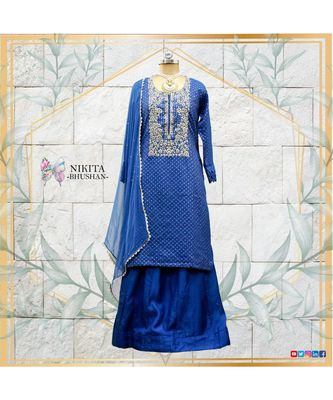 A gorgeous handwork dress with banarasi kurta and silk skirt. The dupatta is made in chiffon with gota lac