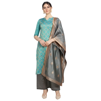 turquoise Elora Cotton Jacquard Unstitched Chex Salwar Suit Dress Material for Women