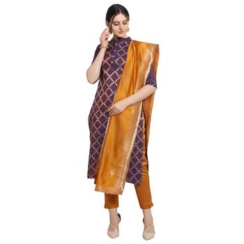 purple Elora Cotton Jacquard Unstitched Chex Salwar Suit Dress Material for Women