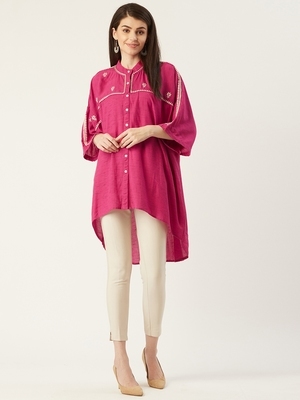 Pinksky Pink woven viscose rayon long-tops