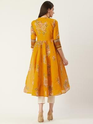 Pinksky Yellow woven cotton ethnic-kurtis