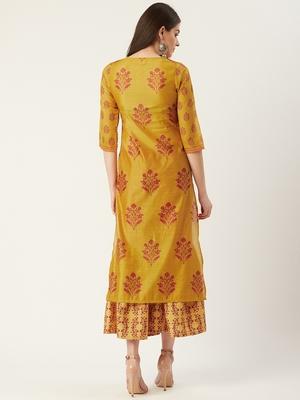 Pinksky Yellow woven crepe ethnic-kurtis