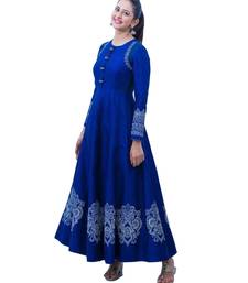 Women Rayon Blue Heavy Embroidery Designer Gown