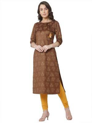 women's  brown colour  embroidered chanderi  straight kurta