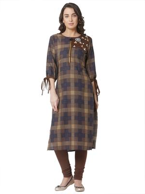 women's brown colour  embroidered cotton straight kurta