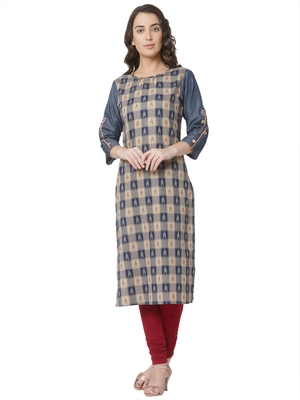 women's beige colour  embroidered cotton straight kurta