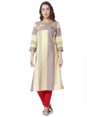 women's  multicolored  embroidered cotton straight kurta