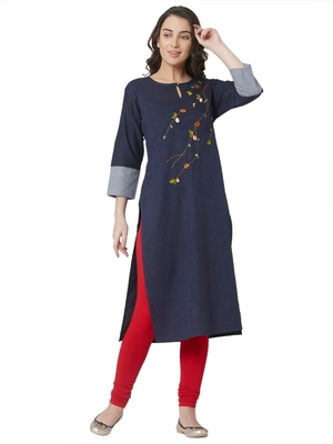 women's   dark blue colour embroidered cotton straight kurta