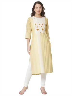 women's  yellow colour  embroidered cotton straight kurta