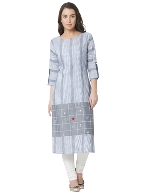women's  white colour  embroidered cotton straight kurta