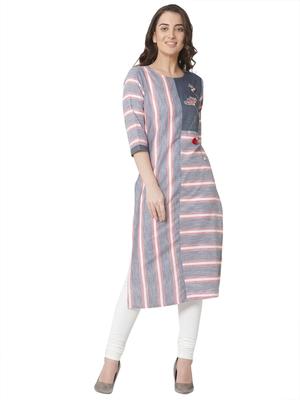 women's   grey colour embroidered cotton straight kurta