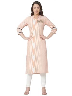 women's   pink colour embroidered cotton straight kurta