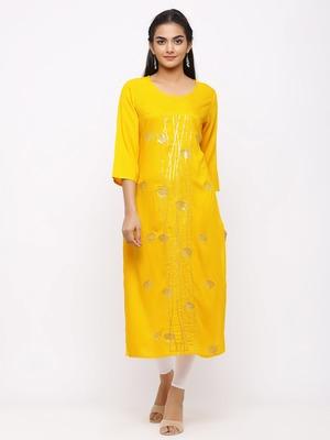 Women's  Mustard Rayon Slub Embroidered Straight Kurta
