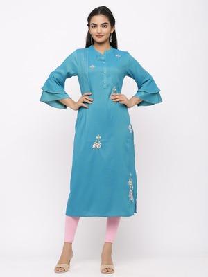 Women's  Sea Blue Rayon Slub Embroidered Straight Kurta