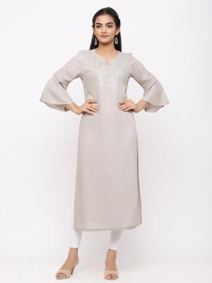 Women's  Light Grey Rayon Slub Embroidered Straight Kurta