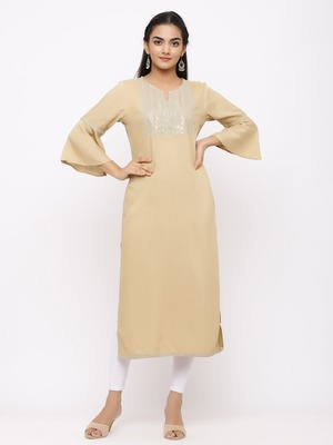 Women's  Beige Rayon Slub Embroidered Straight Kurta