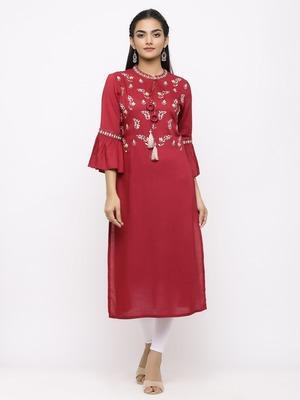 Women's  Mehroon Rayon Slub Embroidered Straight Kurta