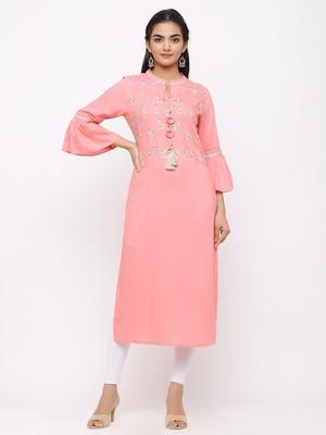 Women's  Pink Rayon Slub Embroidered Straight Kurta