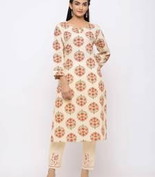 Women's  Cream Cotton Print  Straight Kurta Pant Set